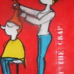 painting cut the crap hairdresser kapper schilderij